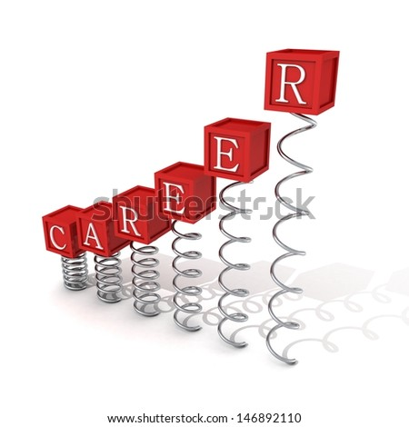 concept career red bar ladder blocks on spring spirals - stock photo