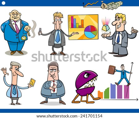 Concept Cartoon Illustration Set of Funny Men or Businessmen Characters and Business Metaphors - stock photo