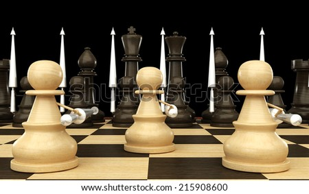 Concept. Chess pawn with spears. isolated. black background. 3d - stock photo