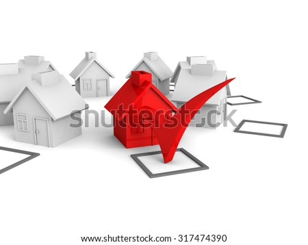 Concept Choice Of House With Check Box. 3d Render Illustration - stock photo