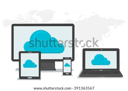 Concept cloud storage and safe data in internet. Symbol of cloud storage on Various data in cloud storage on the screen of computer tablet laptop smartphone. Flat style. Web infographics