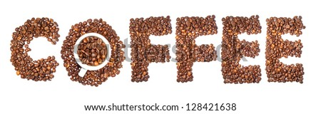 concept coffee word of coffee beans and cup - stock photo