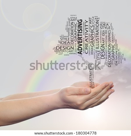 Concept conceptual abstract art design word cloud tagcloud tree on rainbow sky  background metaphor to graphic, nature, ecology, child, young, idea, style, creative, fashion, artist, decor or abstract