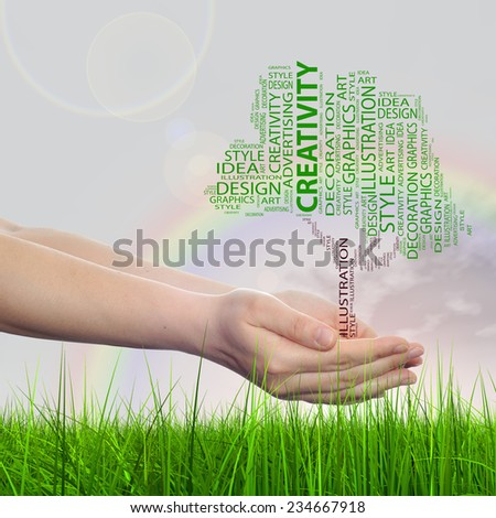 Concept conceptual abstract art design word cloud tagcloud tree on rainbow sky grass background metaphor to graphic, nature, ecology, child, young, idea, style, creative, fashion, decor or abstract - stock photo
