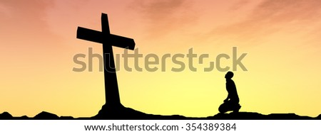 Concept conceptual black cross or religion symbol man silhouette in rocks over a sunset sky with sunlight clouds background banner for God, Christ, Christianity, religious, faith, knee Jesus belief