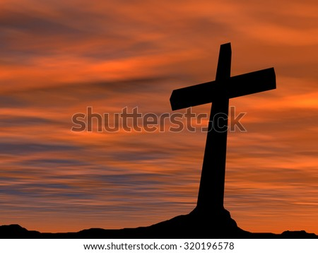 Concept conceptual black cross or religion symbol silhouette in rock landscape over a sunset, sunrise sky with sunlight clouds background for God, Christ, Christianity, religious, faith, Jesus belief - stock photo
