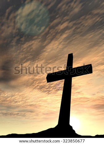 Concept conceptual black cross or religion symbol silhouette in rock landscape over a sunset, sunrise sky with sunlight clouds background for God, Christ, Christianity, religious, faith, Jesus belief