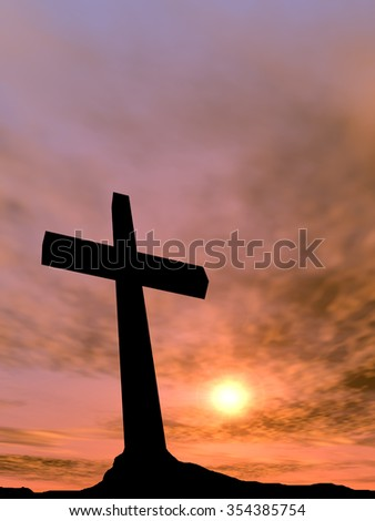 Concept conceptual black cross or religion symbol silhouette in rock landscape over a sunset or sunrise sky with sunlight clouds background for God, Christ, Christianity, religious, faith Jesus belief