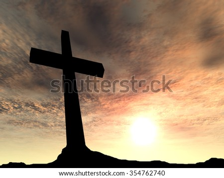 Concept conceptual black cross or religion symbol silhouette in rock landscape over a sunset or sky with sunlight clouds background for God, Christ, Christianity, religious, faith, Jesus belief