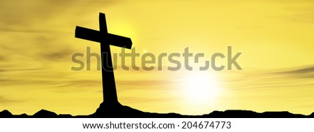 Concept conceptual black cross or religion symbol silhouette in rocks over sunset or sunrise sky with sunlight clouds background for God, Christ, Christianity, religious, faith, Jesus or belief banner