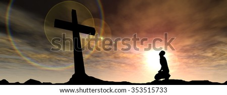 Concept conceptual black cross religion symbol man silhouette in rocks over a sunset sky with sunlight clouds background banner metaphor to God, Christ, Christianity, religious faith knee Jesus belief