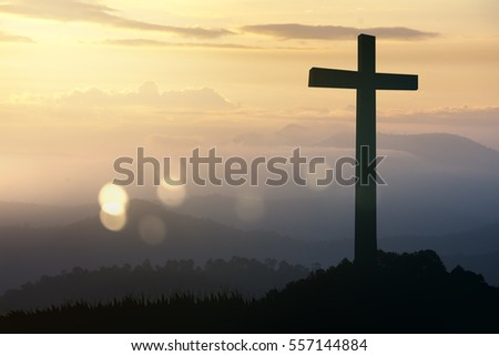 Concept conceptual black cross religion symbol silhouette in grass over sunset or sunrise sky