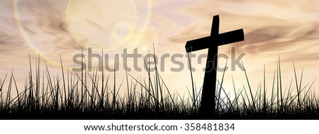 Concept conceptual black cross religion symbol silhouette in grass over sunset or sunrise sky with sunlight clouds background, metaphor to God, Christ, Christianity, religious, faith, Jesus or belief - stock photo