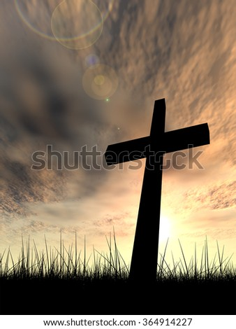 Concept conceptual black cross religion symbol silhouette in grass over sunset or sunrise sky with sunlight clouds background, metaphor to God, Christ, Christianity, religious, faith, Jesus or belief