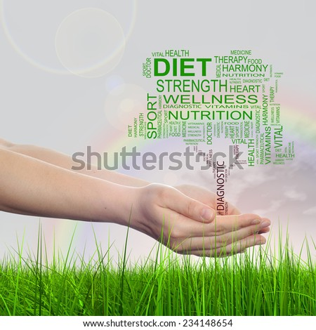 Concept conceptual black text word cloud tagcloud as tree in man or woman hand on rainbow sky background and grass, metaphor to health, nutrition, diet, body, energy, medical, sport, heart science - stock photo