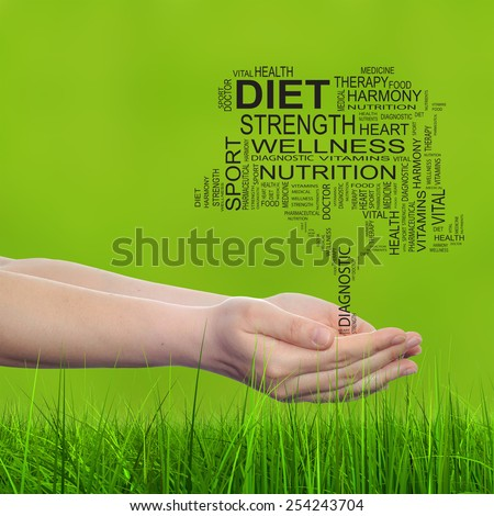 Concept conceptual black text word cloud tagcloud tree in man or woman hand on green blur grass background, metaphor to health, nutrition, silhouette, diet, body, energy, medical, sport, heart science - stock photo