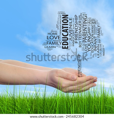 Concept conceptual black text word cloud tree man or woman hand, blue sky grass background, metaphor to nature, ecology, green, energy, natural, life, world, global, protect, recycle or environmental - stock photo