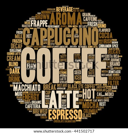Concept conceptual creative hot coffee, cappuccino or espresso abstract round word cloud isolated on background, metaphor to morning, restaurant, italian, beverage, cafeteria, break, energy or taste