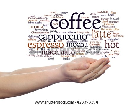 Concept conceptual creative hot coffee, cappuccino or espresso abstract word cloud in hand isolated on background, metaphor to morning, restaurant, italian, beverage, cafeteria, break, energy or taste - stock photo