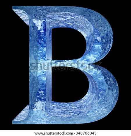 Concept conceptual 3D blue water or ice font part of set or collection isolated on black background metaphor to summer, spring, winter, fresh, freeze, liquid, Christmas or education design