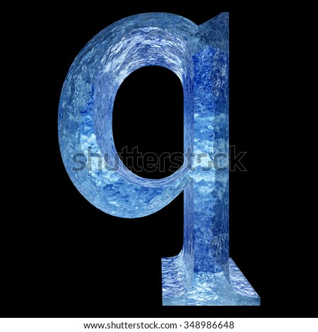 Concept conceptual 3D blue water or ice font part of set or collection isolated on black background for winter metaphor to summer, spring, winter, fresh, freeze, liquid, Christmas or education