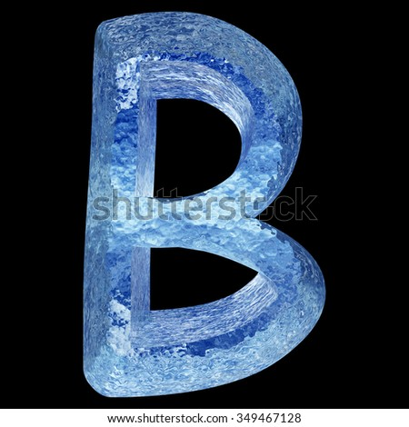 Concept conceptual 3D blue water or ice font part of set or collection isolated on black background metaphor to summer, spring, winter, fresh, freeze, liquid, Christmas or education