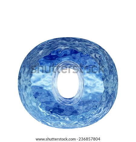 Concept conceptual 3D blue water or ice o font, part of collection isolated on white background, metaphor to winter, fresh, frost, liquid, Christmas, eco, ecology, cold, drink or cool - stock photo