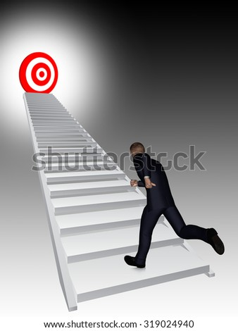 Concept conceptual 3D business man running, climbing stair on black background with a red target metaphor to success, career, work, job, achievement, development, growth, progress, vision or future - stock photo