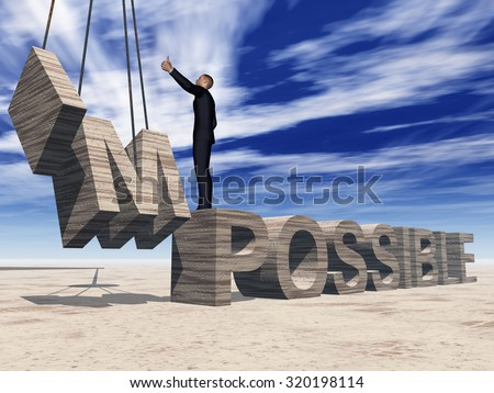 Concept conceptual 3D business man standing over abstract stone impossible text on sky background metaphor to success, career, work, job, achievement, development, growth, progress, vision, possible - stock photo