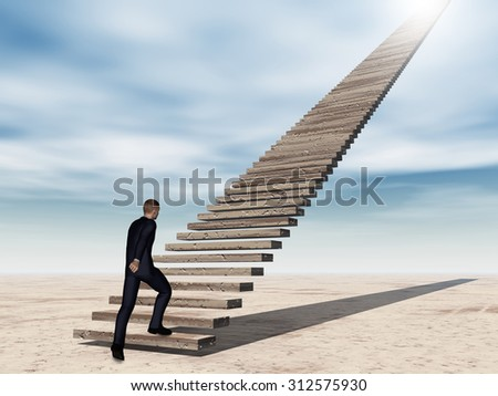 Concept conceptual 3D business man walking or climbing stair on sky background with clouds, metaphor to success, career, work, job, achievement, development, growth, progress, vision, future or faith - stock photo