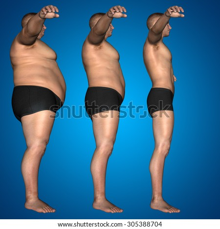 Concept, conceptual 3D fat overweight vs slim fit diet with muscles young man blue gradient background metaphor for weight loss, body, fitness, fatness, obesity, health, healthy, male, dieting, shape - stock photo