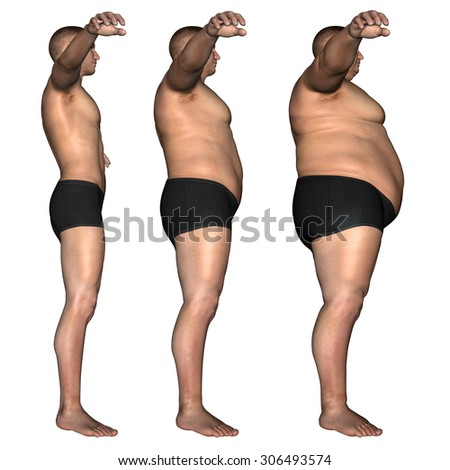 Concept, conceptual 3D fat overweight vs slim fit diet with muscles young man isolated on white background metaphor weight loss, body, fitness, fatness, obesity, health, healthy, male, dieting, shape - stock photo