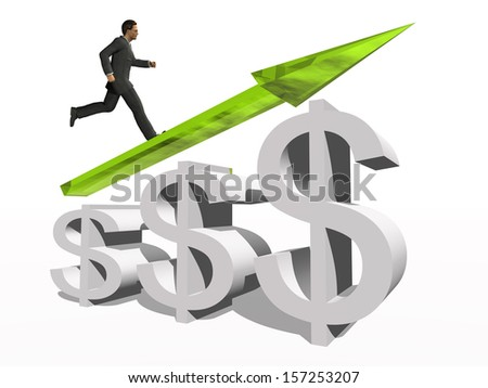 Concept conceptual 3D green glass dollar symbol with arrow pointing up isolated on white background with businessman as a metaphor for business,finance,money,growth,success,stock,currency or economy