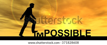 Concept conceptual 3D human man businessman as black silhouette stepping over impossible possible text at sunset banner metaphor to success, challenge, motivation, achievement, business, goal or hope - stock photo