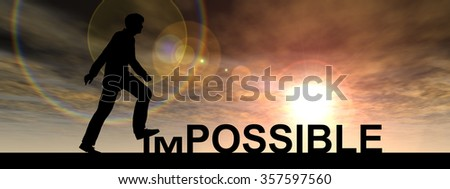 Concept conceptual 3D human man or businessman as black silhouette stepping over impossible possible text at sunset banner metaphor to success, challenge, motivation, achievement, business, goal, hope - stock photo