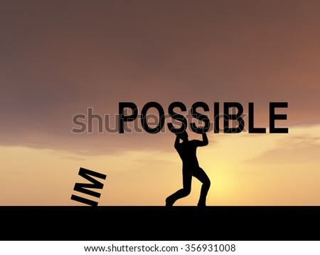 Concept conceptual 3D human man or businessman, black silhouette lifting an impossible or possible text at sunset metaphor to success, challenge, motivation, achievement, business, goal, hope, hope - stock photo