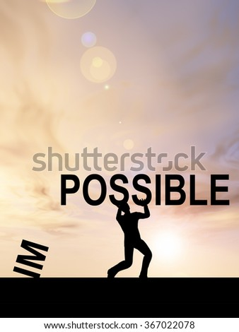 Concept conceptual 3D human man or businessman, black silhouette lifting an impossible or possible text at sunset metaphor to success, challenge, motivation, achievement, business, goal, power - stock photo