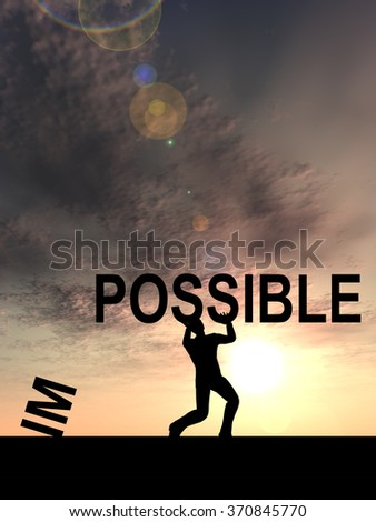 Concept conceptual 3D human man or businessman, black silhouette lifting an impossible or possible text at sunset metaphor to success, challenge, motivation, achievement, business, goal, hope, power