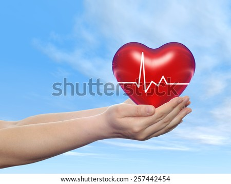 Concept conceptual 3D red human heart sign or symbol held in human man or woman hand, blue sky background, metaphor to health, care, medicine, protect, life, medical, pulse, healthcare cardiology - stock photo