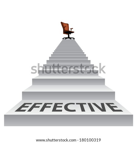 Concept conceptual 3d stair climbing to a leader, chief or promotion chair on top isolated white background, metaphor to career, business, success, achievement, winner, goal, step or victory