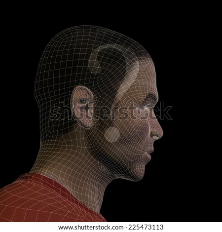 Concept conceptual 3D wireframe human male man question ask head isolated on black background metaphor for technology, cyborg, digital, virtual, avatar, model, science, fiction, future, abstract mesh