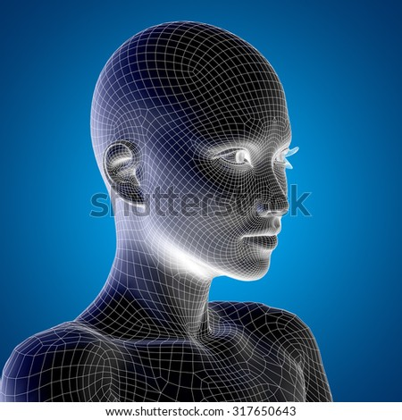 Concept, conceptual 3D wireframe young human female or woman face or head on blue background metaphor for technology, cyborg, digital, virtual, avatar, model, science, fiction, future, mesh, abstract