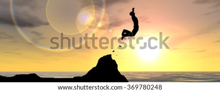 Concept conceptual 3D young man businessman silhouette jump happy from cliff over water gap sunset sunrise sky background banner metaphor to freedom, nature, mountain, success, free, joy, health risk - stock photo