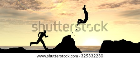 Concept conceptual 3D young man or businessman silhouette jump happy from cliff over water gap sunset or sunrise sky background banner for freedom, nature, mountain, success, free, joy, health risk - stock photo