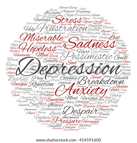 Concept conceptual depression or mental emotional disorder abstract round word cloud isolated on background metaphor to anxiety, sadness, negative, sad, problem, despair, unhappy, frustration symptom - stock photo