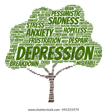Concept conceptual depression or mental emotional disorder tree word cloud isolated on background metaphor to anxiety, sadness, negative, sad, problem, despair, unhappy, frustration symptom - stock photo