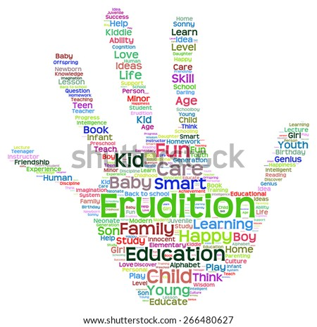 Concept conceptual education abstract hand print word cloud, metaphor to child, family, school, life, learn, knowledge, home, study, teach, educational, achievement, childhood, teen handprint