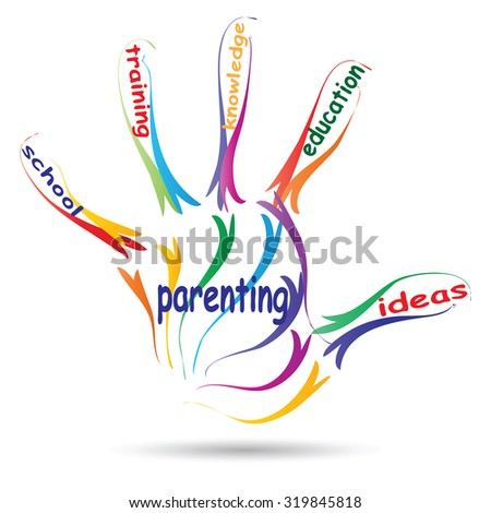 Concept conceptual education hand print colorful word cloud isolated on white background for child, family, school, life, learn, knowledge, home, study, teach, educational, achievement childhood, teen - stock photo