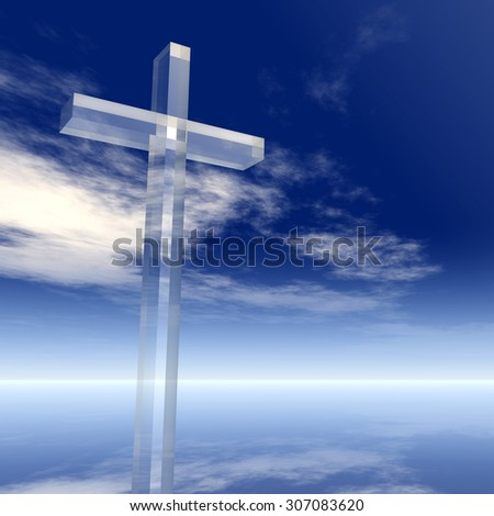 Concept conceptual glass cross or religion symbol silhouette on water landscape over a blue sky with sunlight clouds background for religion, faith, holiday, God, religious, Jesus or belief designs - stock photo