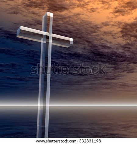 Concept conceptual glass cross or religion symbol silhouette on water landscape over a sunset sunrise sky with sunlight clouds background for God, Christ, Christianity, religious, faith, Jesus belief - stock photo
